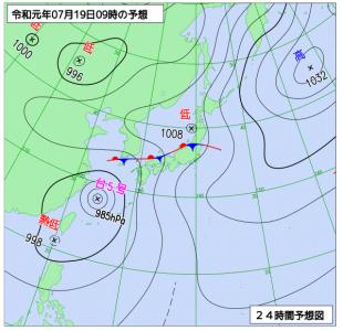7月19日(金)9時の予想天気図
