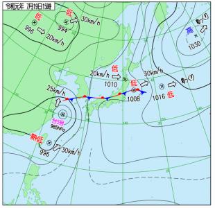7月19日(金)15時の実況天気図