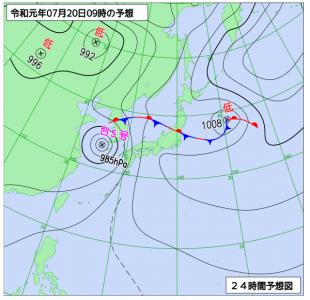 7月20日(土)9時の予想天気図