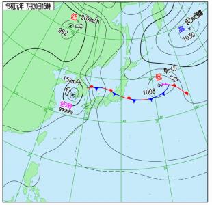 7月20日(土)15時の実況天気図