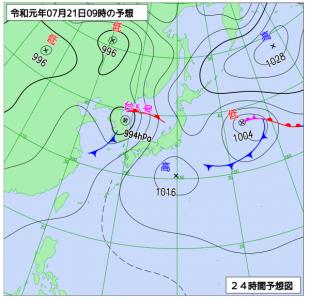 7月21日(日)9時の予想天気図