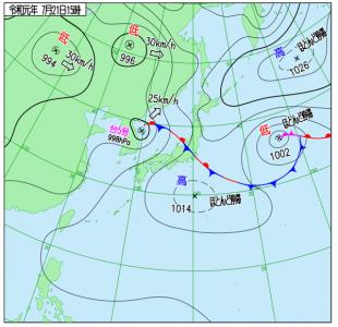7月21日(日)15時の実況天気図