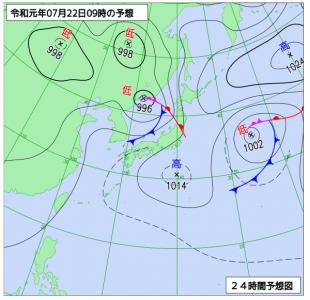 7月22日(月)9時の予想天気図