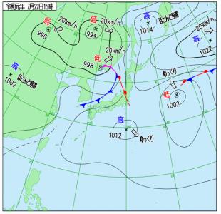 7月22日(月)15時の実況天気図
