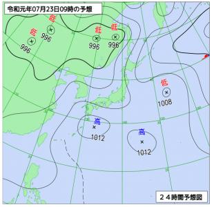 7月23日(火)9時の予想天気図