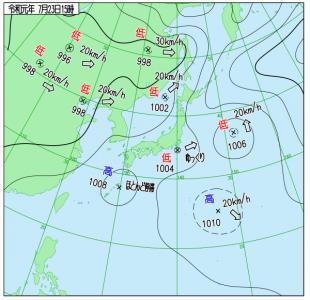 7月23日(火)15時の実況天気図