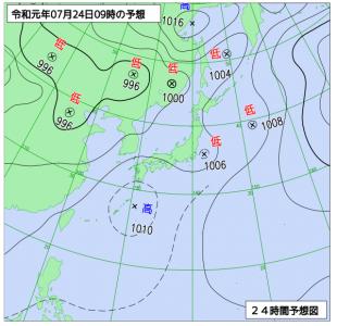 7月24日(水)9時の予想天気図