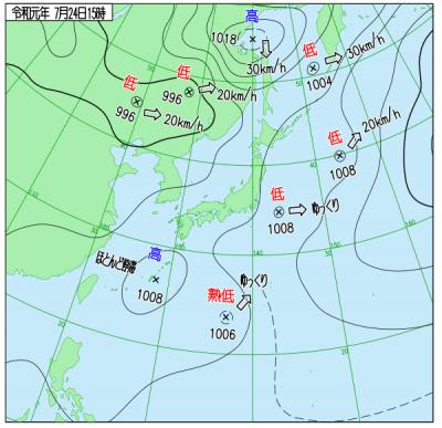 7月24日(水)15時の実況天気図