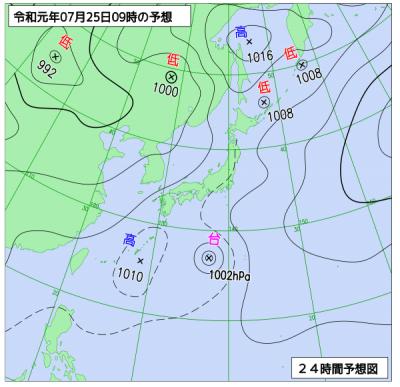 7月25日(木)9時の予想天気図