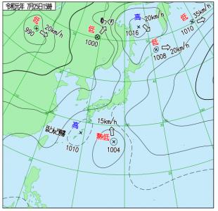 7月25日(木)15時の実況天気図