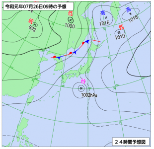 7月26日(金)9時の予想天気図