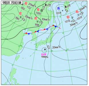 7月26日(金)15時の実況天気図