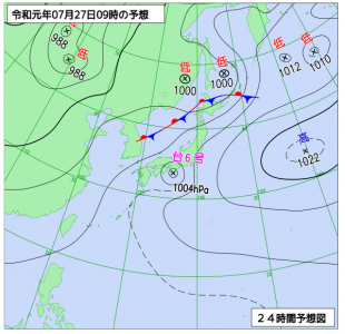 7月27日(土)9時の予想天気図