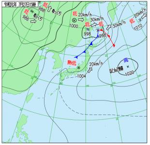 7月27日(土)15時の実況天気図