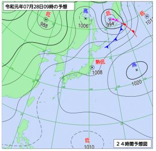 7月28日(日)9時の予想天気図