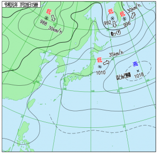 7月28日(日)15時の実況天気図