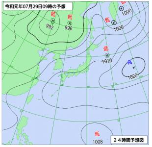 7月29日(月)9時の予想天気図