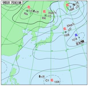 7月29日(月)15時の実況天気図