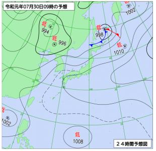 7月30日(火)9時の予想天気図