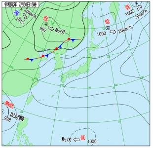 7月30日(火)15時の実況天気図