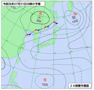 7月31日(水)9時の予想天気図