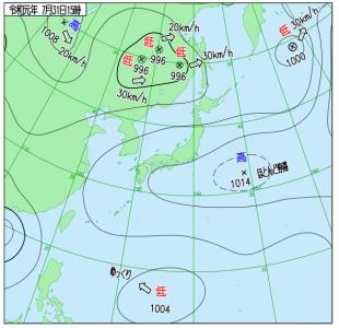 7月31日(水)15時の実況天気図