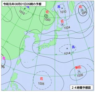 8月1日(木)9時の予想天気図