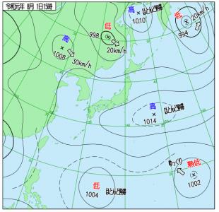 8月1日(木)15時の実況天気図
