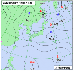 8月2日(金)9時の予想天気図