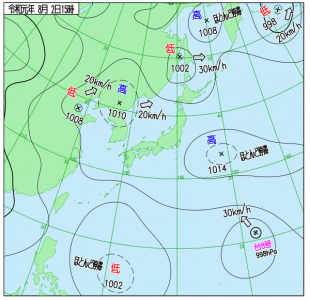 8月2日(金)15時の実況天気図