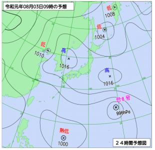 8月3日(土)9時の予想天気図
