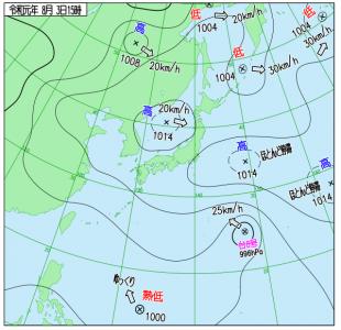 8月3日(土)15時の実況天気図