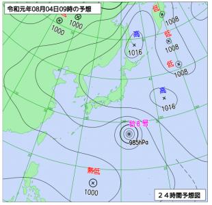 8月4日(日)9時の予想天気図
