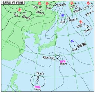 8月4日(日)15時の実況天気図