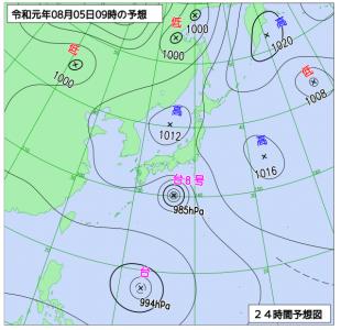 8月5日(月)9時の予想天気図
