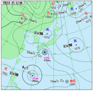 8月5日(月)15時の実況天気図