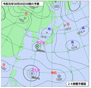 8月6日(火)9時の予想天気図