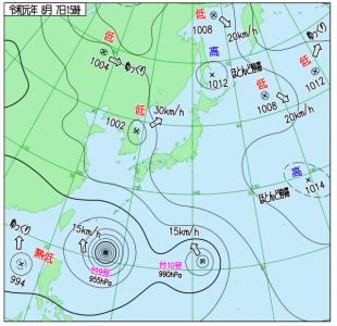 8月7日(水)15時の実況天気図