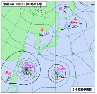8月8日(木)9時の予想天気図