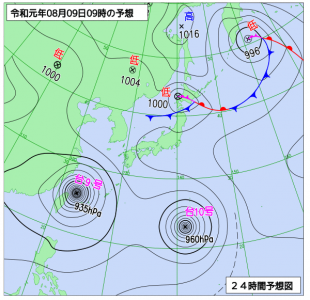 8月9日(金)9時の予想天気図