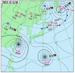 8月9日(金)15時の実況天気図