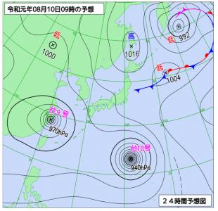 8月10日(土)9時の予想天気図