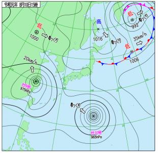8月10日(土)15時の実況天気図