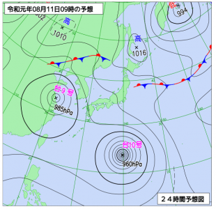 8月11日(日祝)9時の予想天気図
