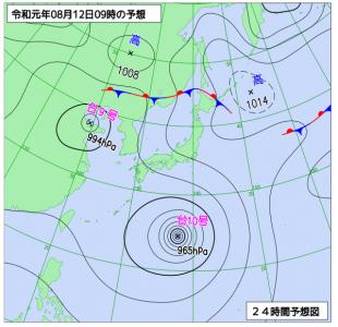 8月12日(月振)9時の予想天気図