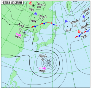 8月12日(月振)15時の実況天気図