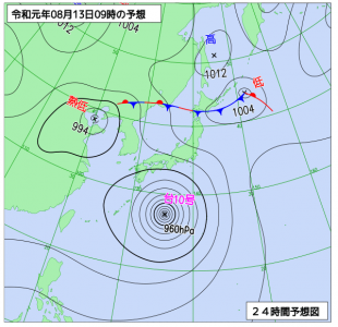 8月13日(火)9時の予想天気図