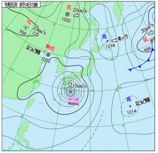 8月14日(水)15時の実況天気図