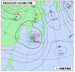 8月15日(木)9時の予想天気図
