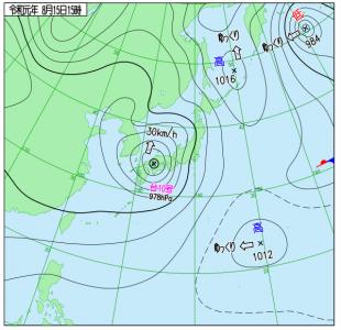 8月15日(木)15時の実況天気図